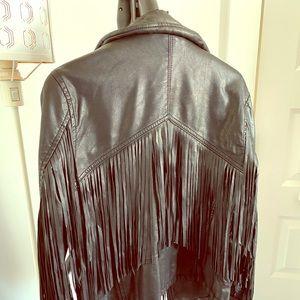 BLANK NYC vegan leather fringe jacket
